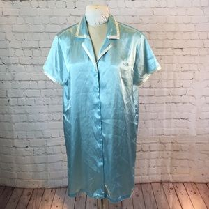 Jones NY baby blue silky button down robe